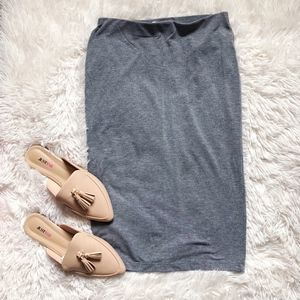 FOREVER21 light grey elastic waist basic skirt